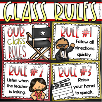 Classroom Rules Posters EDITABLE Back to School Hollywood Movie Star Theme.
