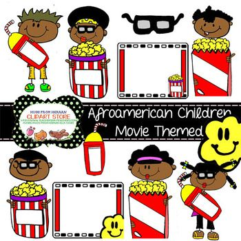 Afroamerican Children Movie Themed Cliparts for Personal a.
