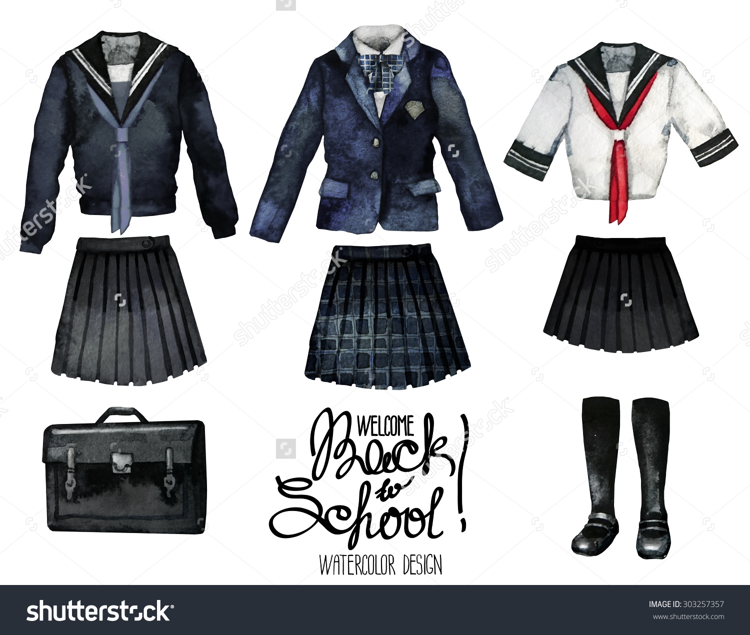Back School Collection Watercolor School Uniform Stock.