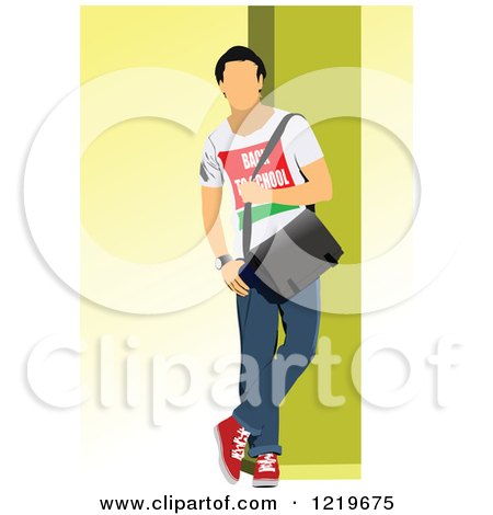 Clipart of a Back to School Teenage Boy.