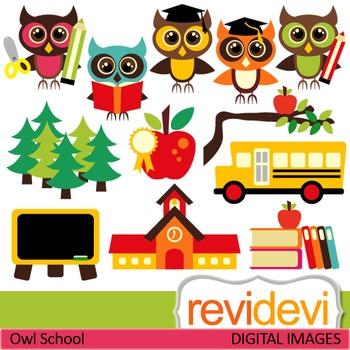 Owl school clip art (back to school clipart) teacher resource digital  graphics.