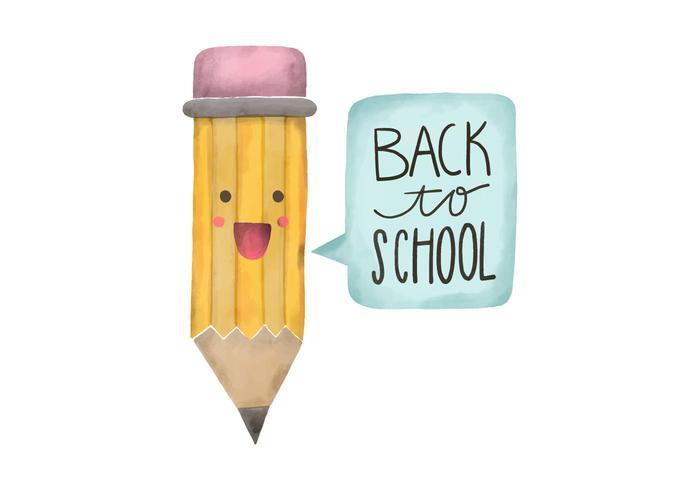 Back To School Watercolor Pencil Character Vector.