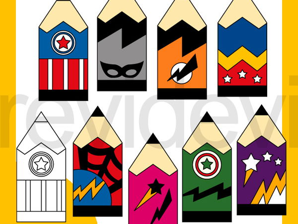 Superhero Pencils clip art for Back to school.