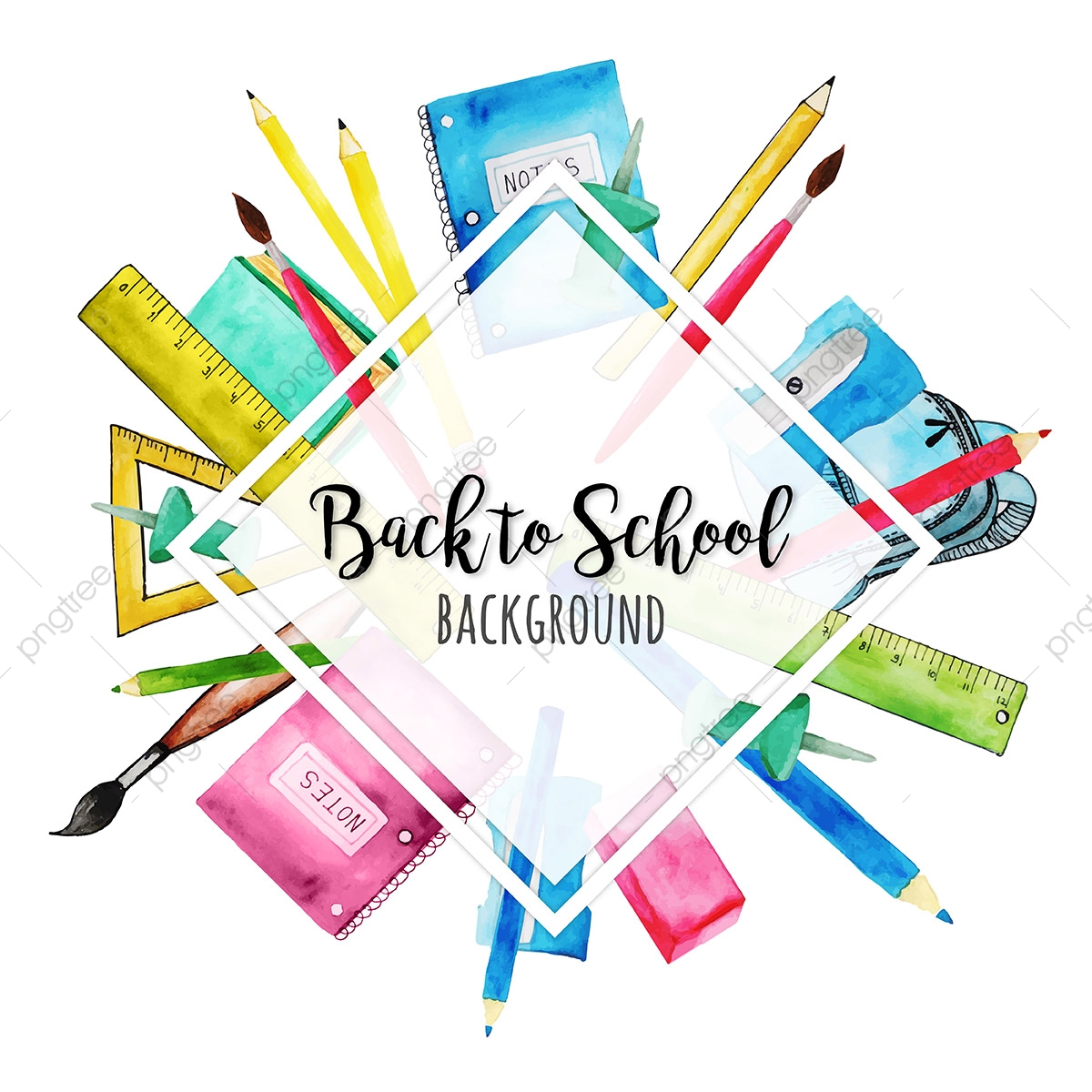 Watercolor Back To School Background, School, Back, Chalk PNG and.
