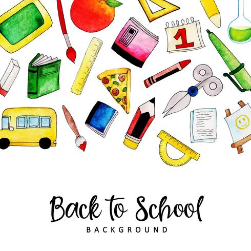 Background or card watercolor Back To School reminder.