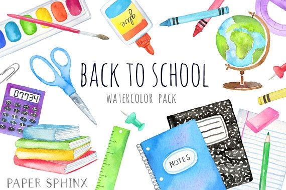 Watercolor Back to School Clipart.
