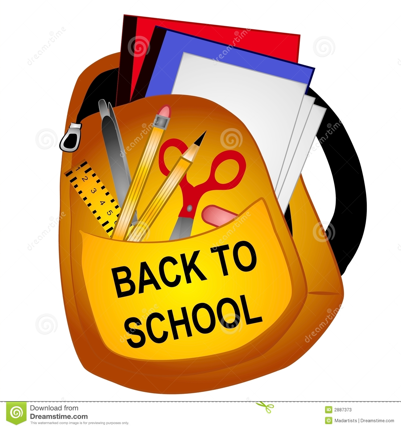 1355 School Supplies free clipart.