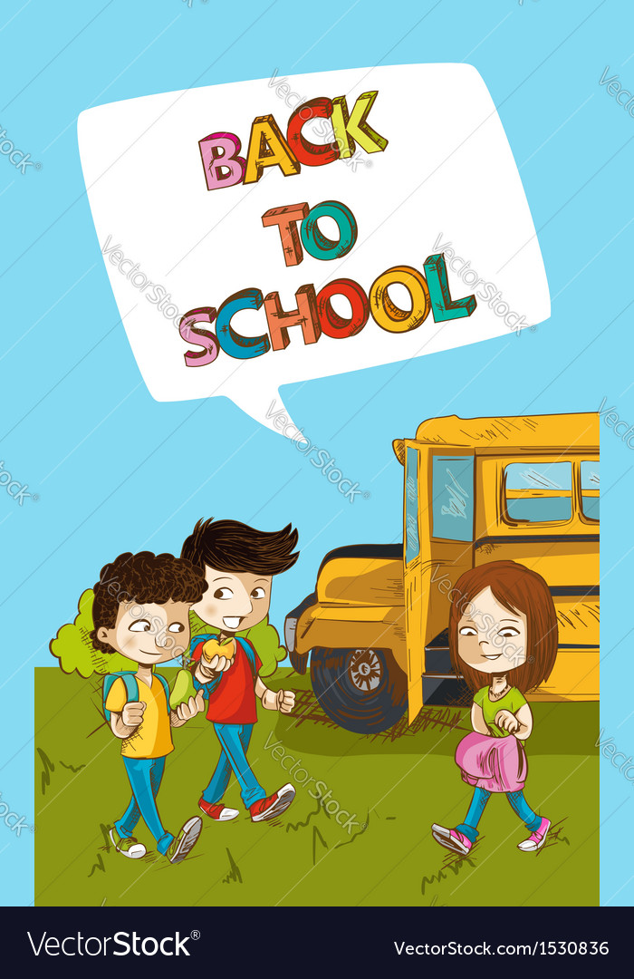Back to school education kids with social bubble.