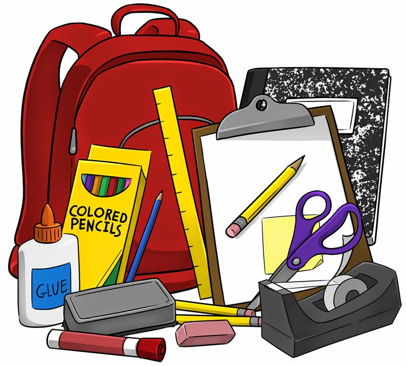 1356 School Supplies free clipart.