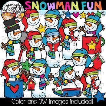 Snowman Fun Clipart {Winter Clipart}.