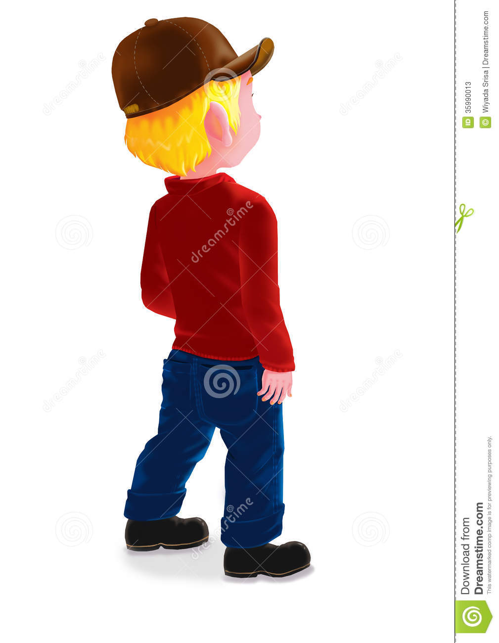 Boy standing alone clipart.
