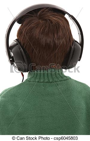 Stock Photos of Child Wearing Head phones With Back Turned.
