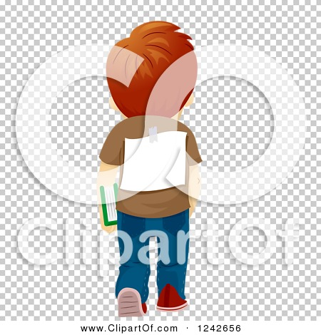 Clipart of a Rear View of a School Boy Walking with a Sign on His.