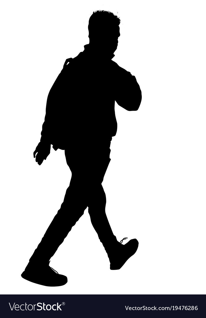 Man silhouette walking with backpack.