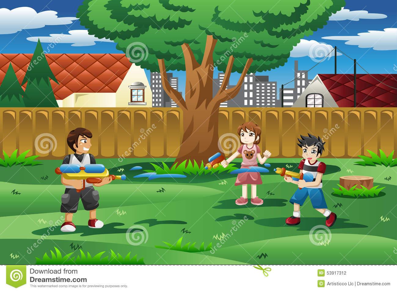 Kids backyard clipart.