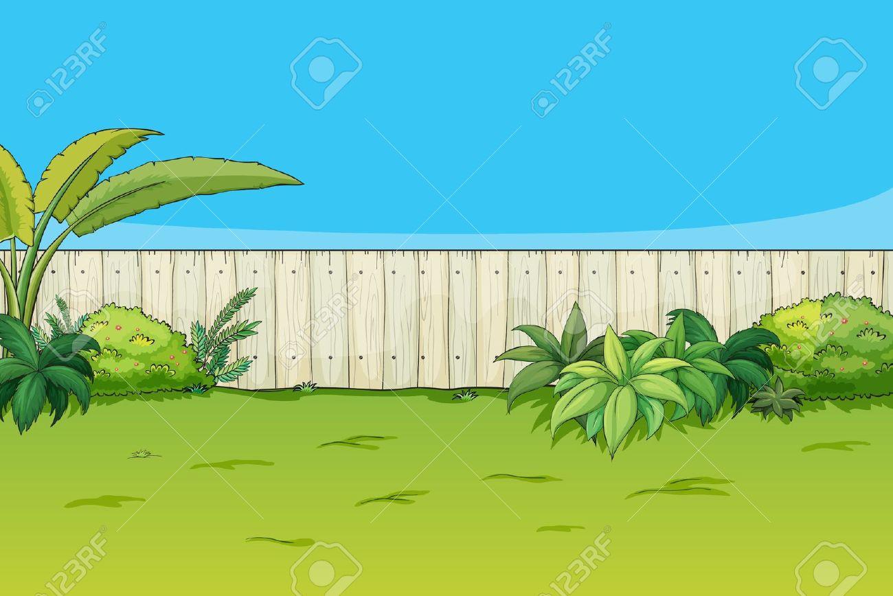 Back yard garden clipart.