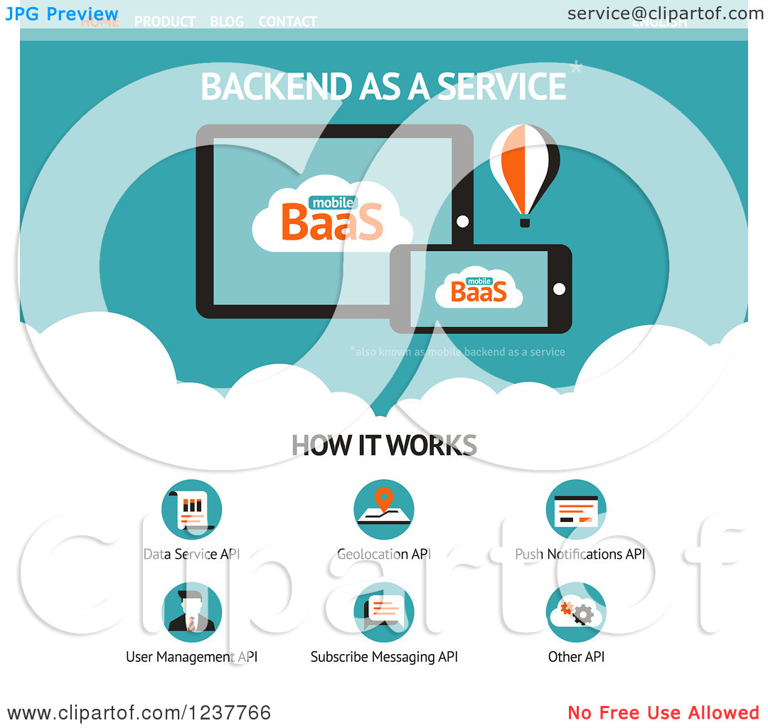 Clipart of a Backend As a Service Website Design Template.