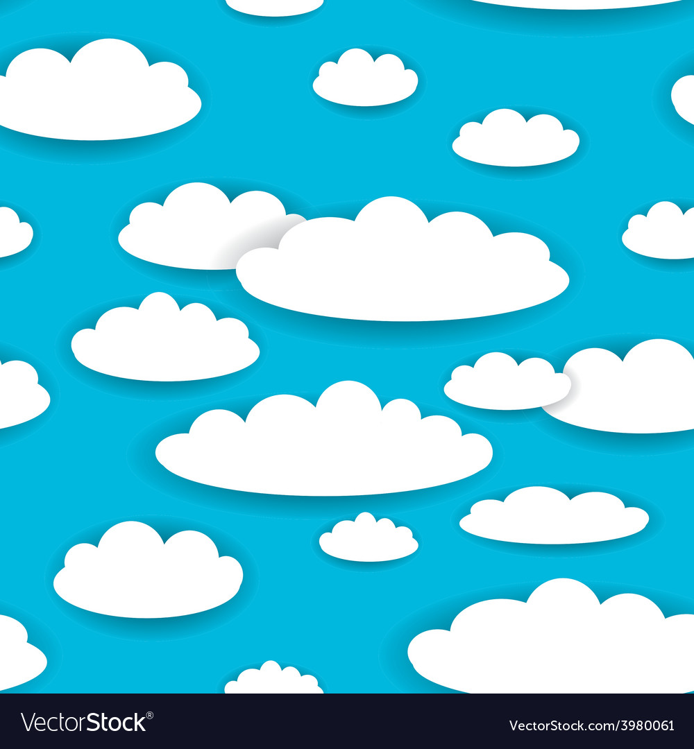 White clouds on blue sky seamless background.