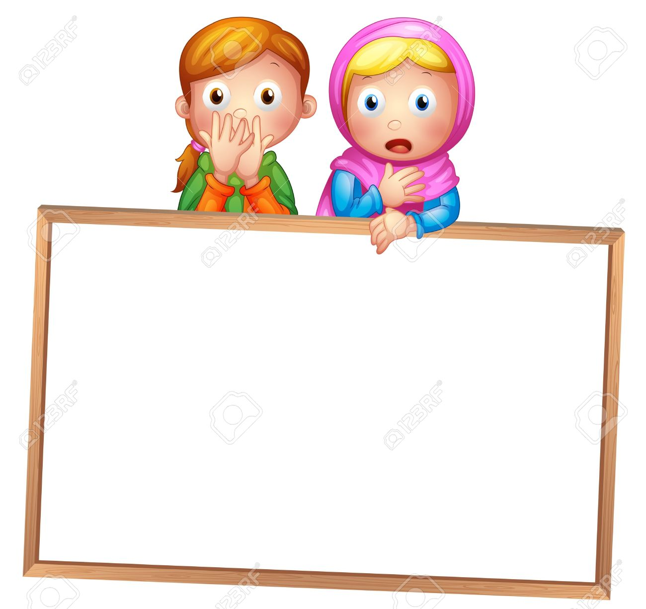 Illustration Of An Empty Framed White Board With Two Girls On.