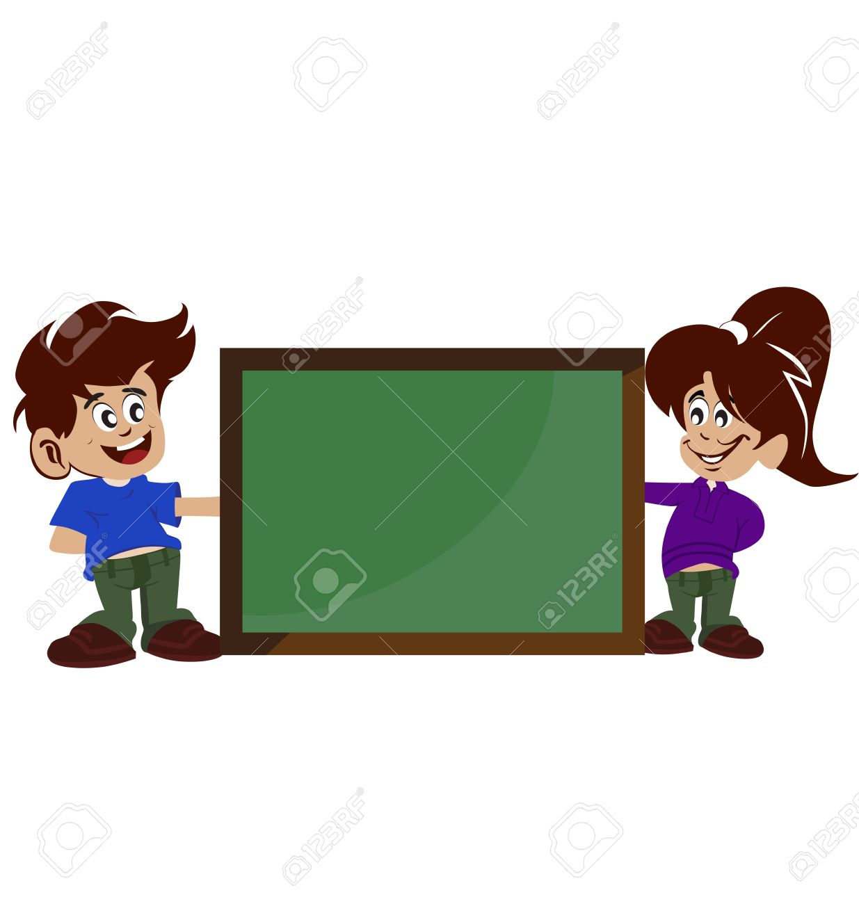 Illustration Of Blank Board Kids On White Background Royalty Free.