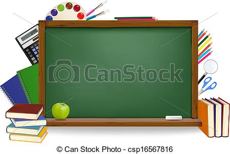 Vector Clip Art of Back to school. Green board with school.