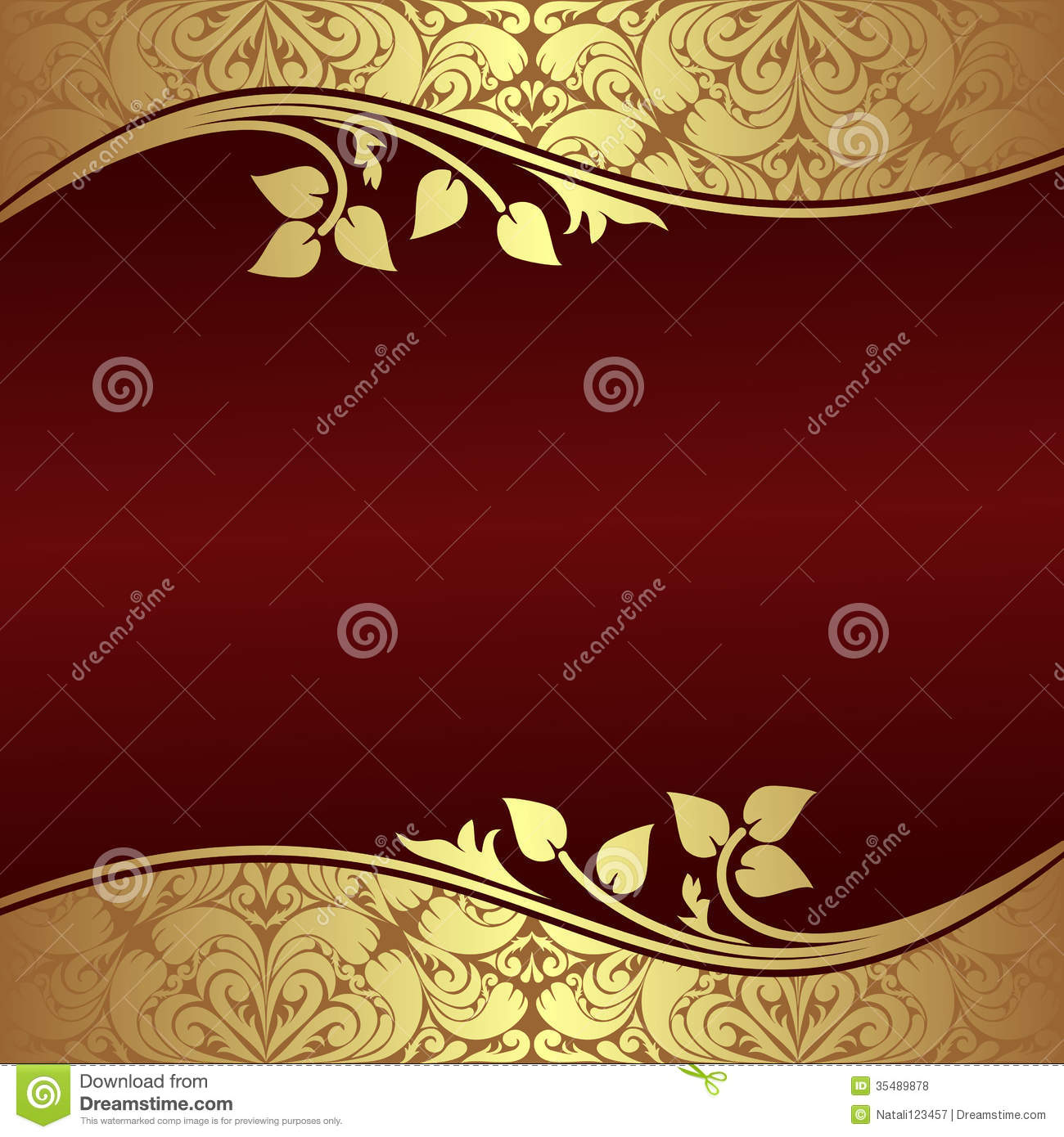 Elegant Background With Floral Golden Borders. Royalty Free Stock.