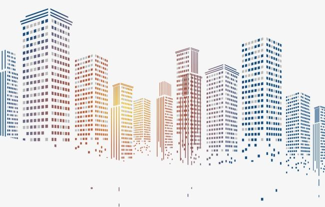 Pixelated City Building, Building Clipart, Building Blocks, Geometry.