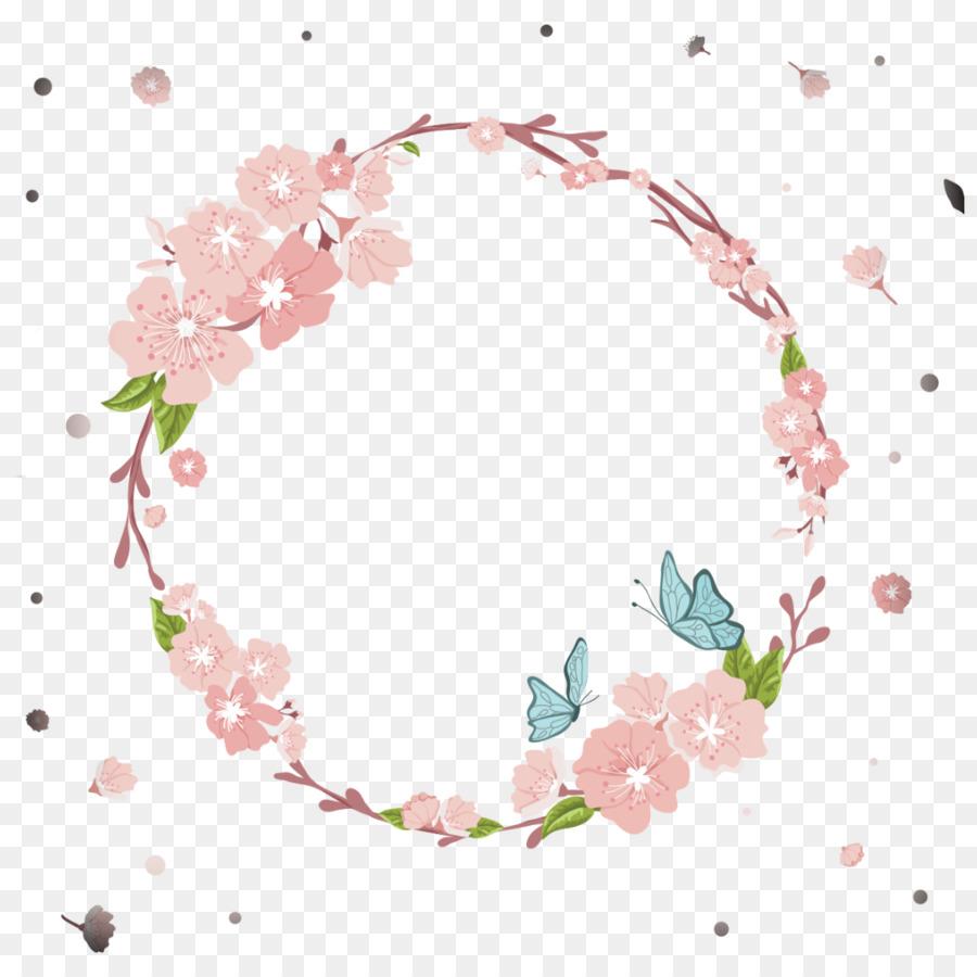 Pink Flower Border png download.