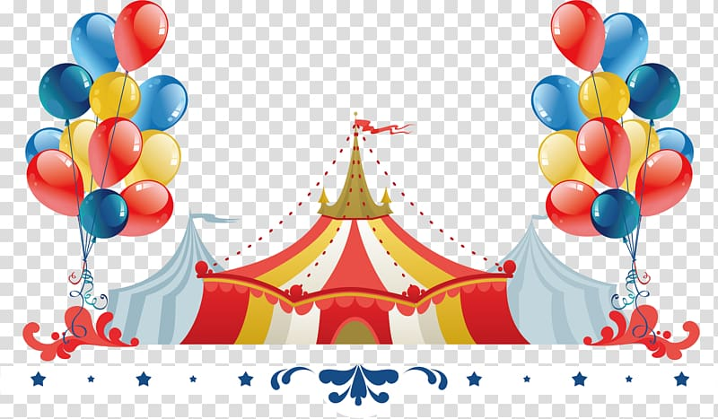 Carnival tent illustration, Performance Circus Cartoon.