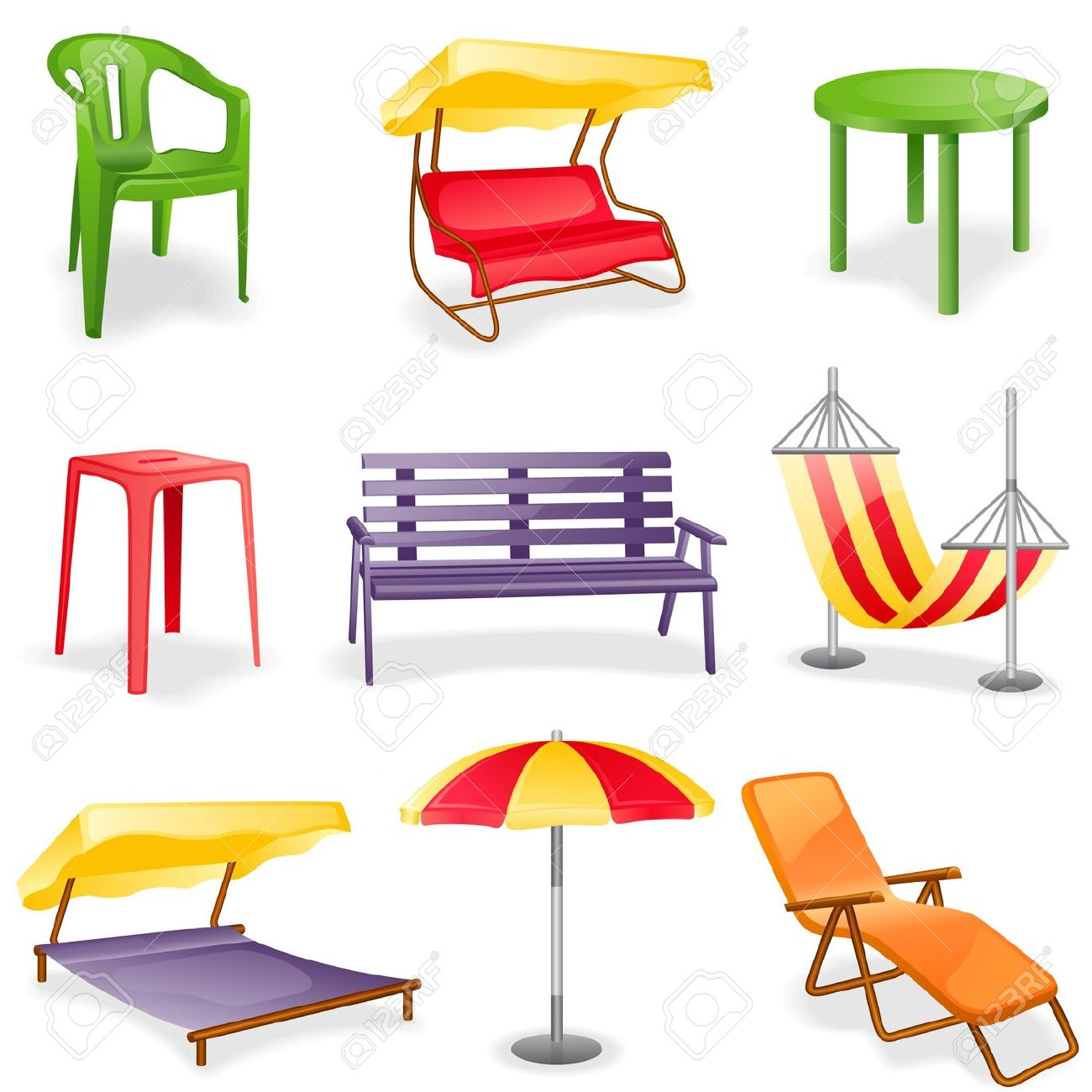 Garden Furniture Icon Set. Isolated On A White Background. Royalty.