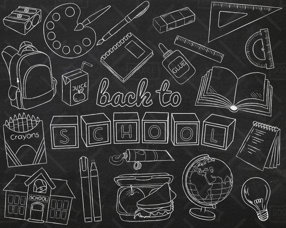 Chalkboard Back To School Vector Pack, Hand Drawn School.