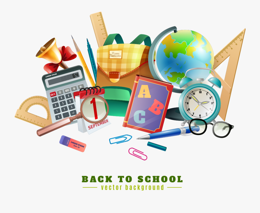 And School Poster Illustration Vector Chalkboard Stationery.