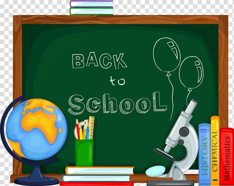 School , School supplies and chalkboard transparent.