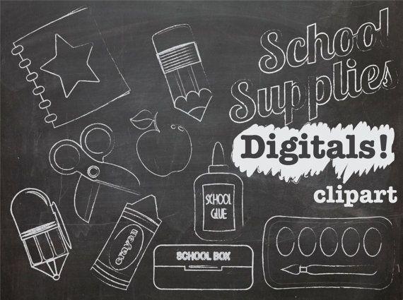 Chalkboard Clipart School Supplies, INSTANT DOWNLOAD, chalk.