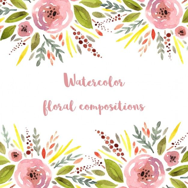 Cute floral background, watercolor style Free Vector in 2019.