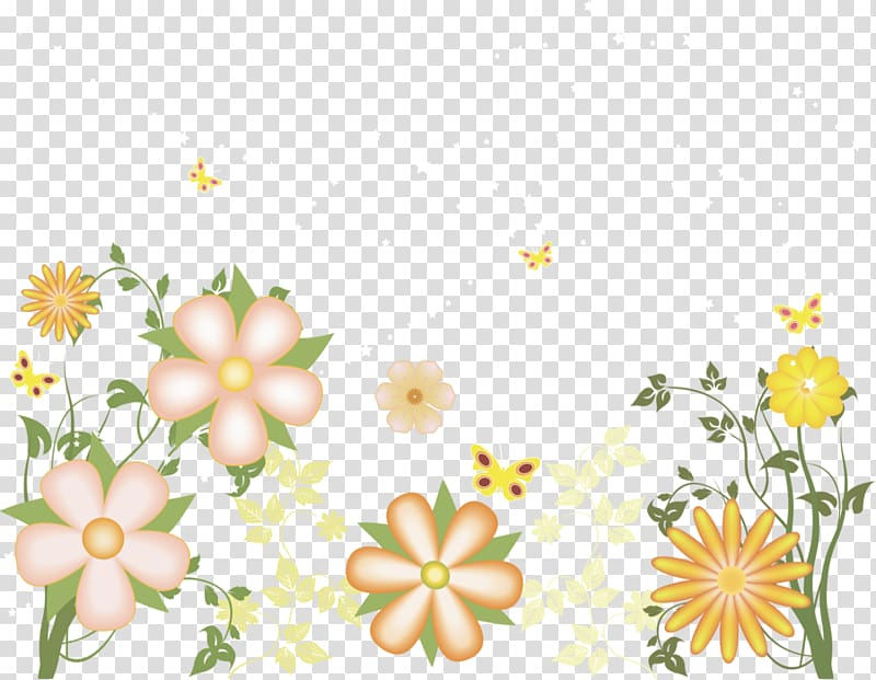 Peach, green, and yellow flowers illustration, , Yellow.