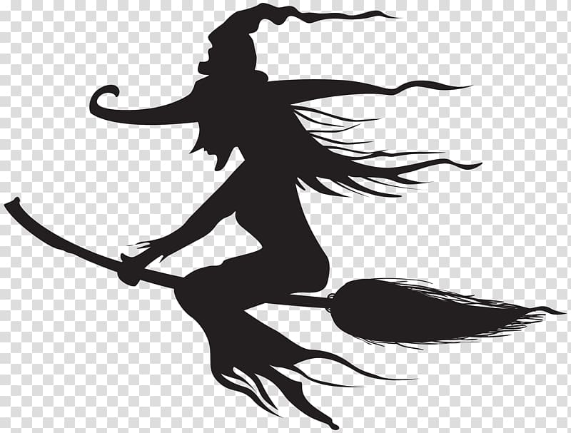 Witch silhouette, Witchcraft Halloween Silhouette.