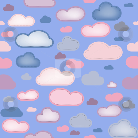 Clouds Seamless Background stock vector.