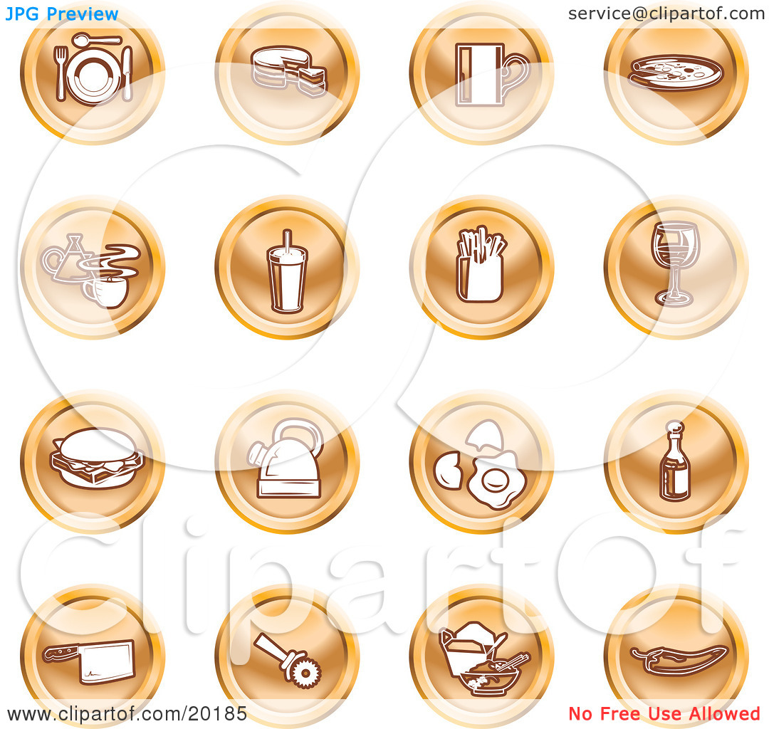 Clipart Illustration of a Collection Of Orange Icons Of Food And.