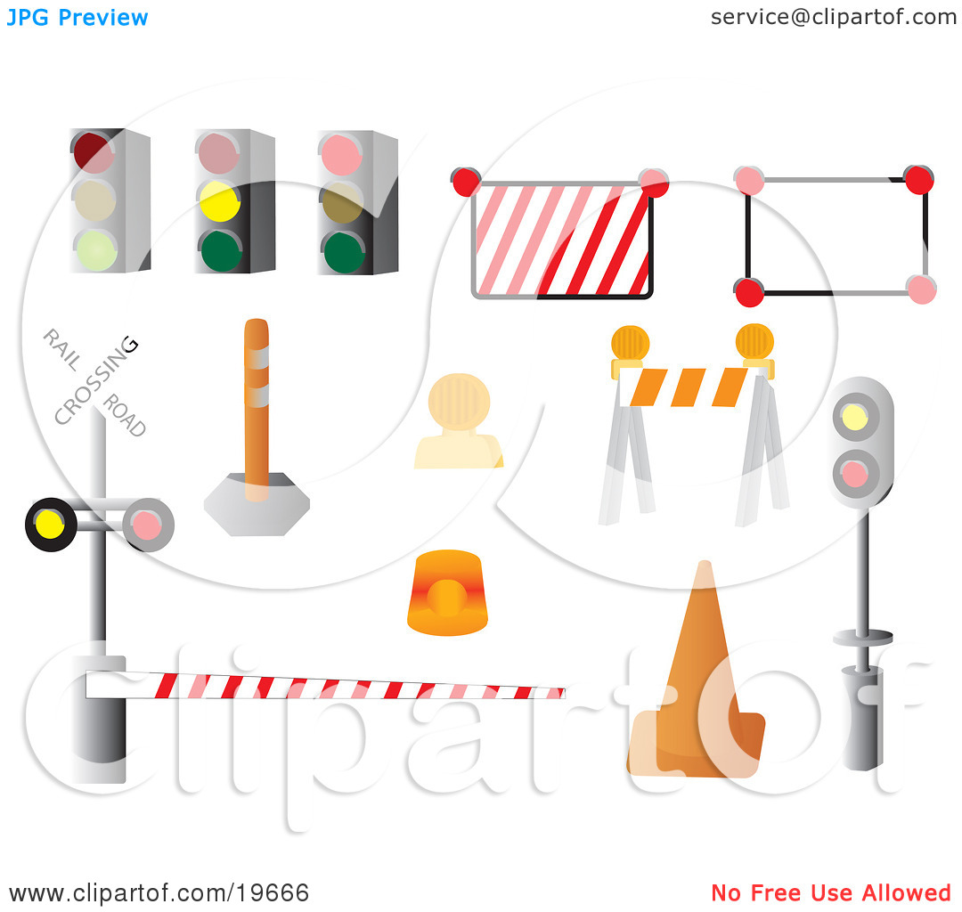 Clipart Illustration of a Collection of Road Signs on a White.