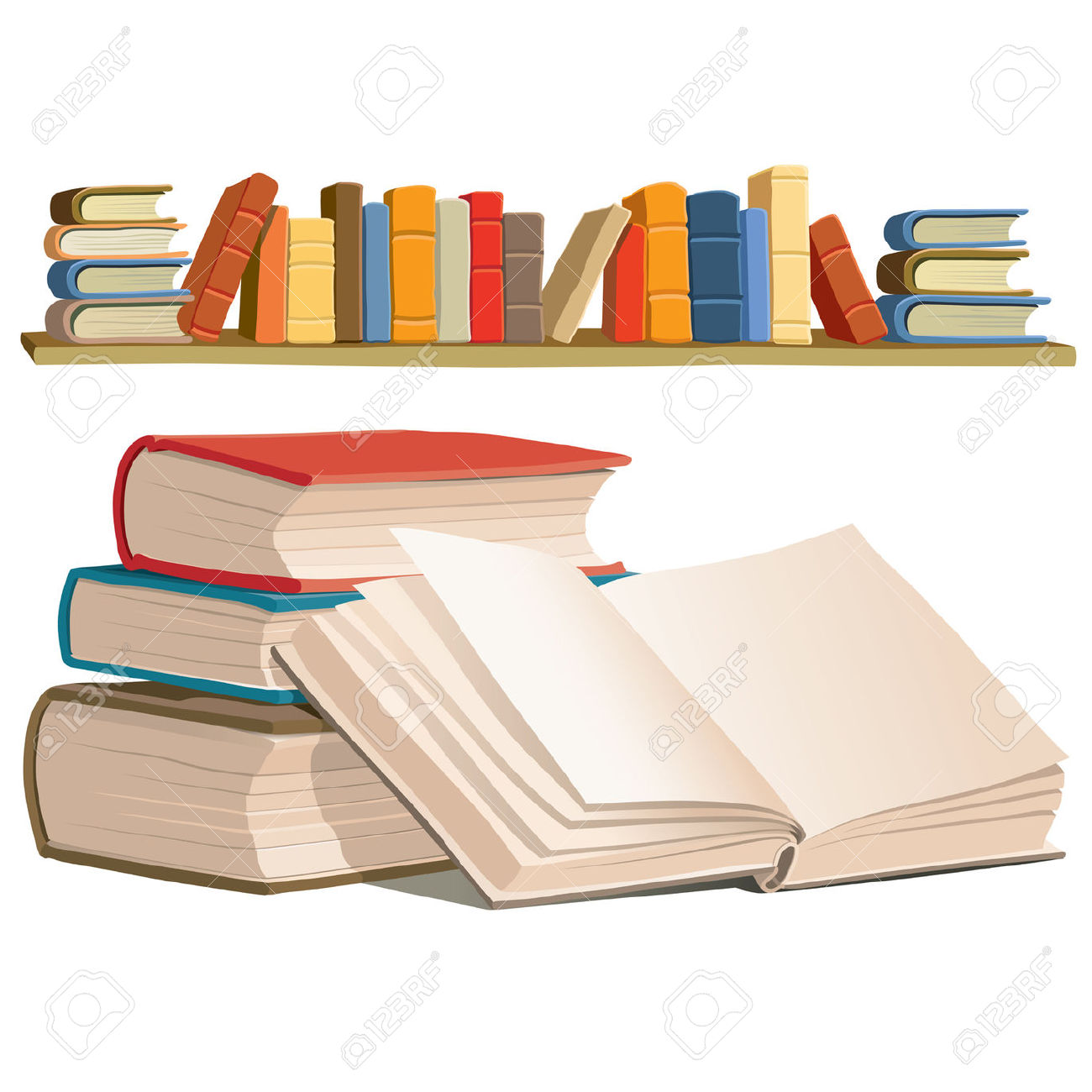 Collection Of Colorful Books On White Background. Royalty Free.
