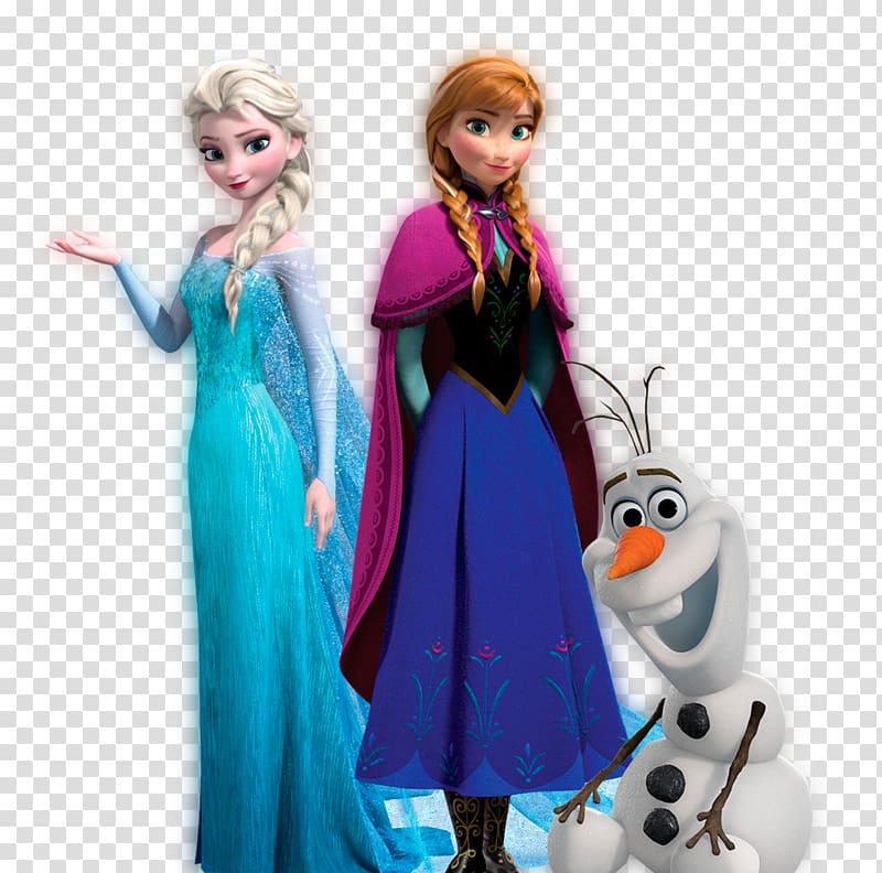 Disney Frozen Princess Elsa, Anna, and Olaf illustration.