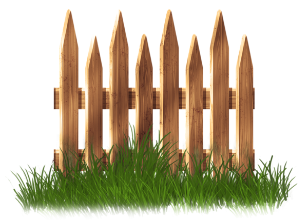 Transparent Wooden Garden Fence with Grass Clipart.