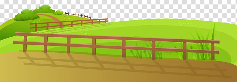Brown wooden fence illustration, Fence , Grass Ground with.