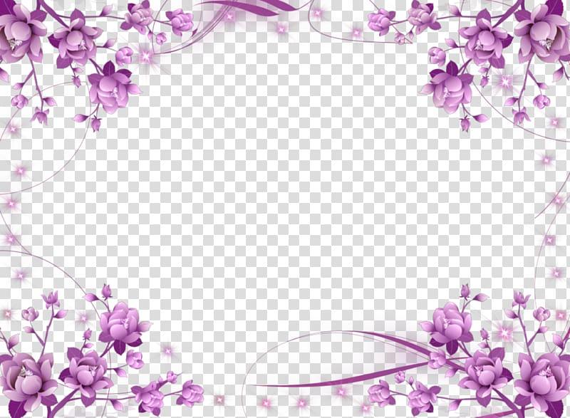 Wedding invitation frame Flower Purple , Purple Border Frame.