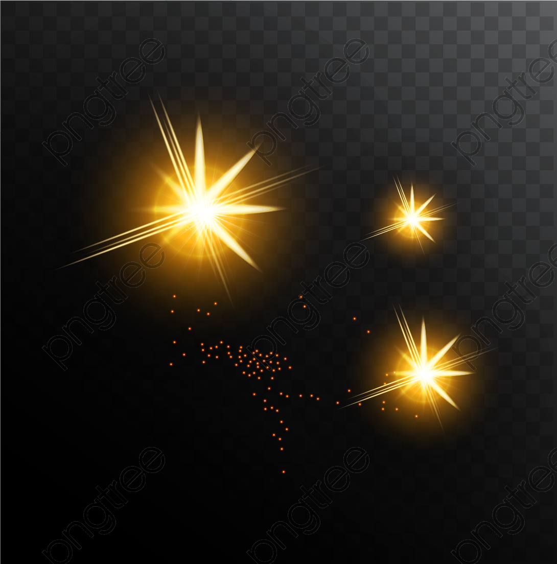 Transparent golden shine light effect vector PNG Format Image With.