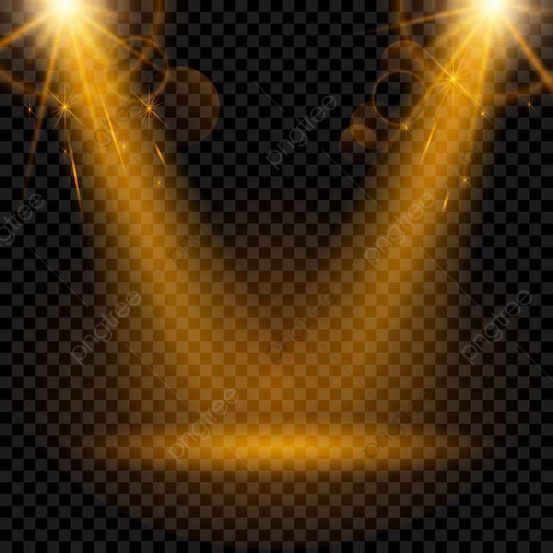 Golden Spotlight Isolated On A Transparent Background, Lights.