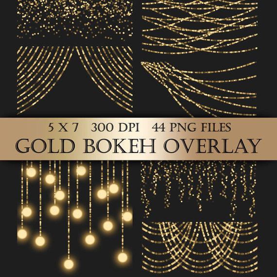 Gold Bokeh String Lights Digital Clipart Overlay gold.