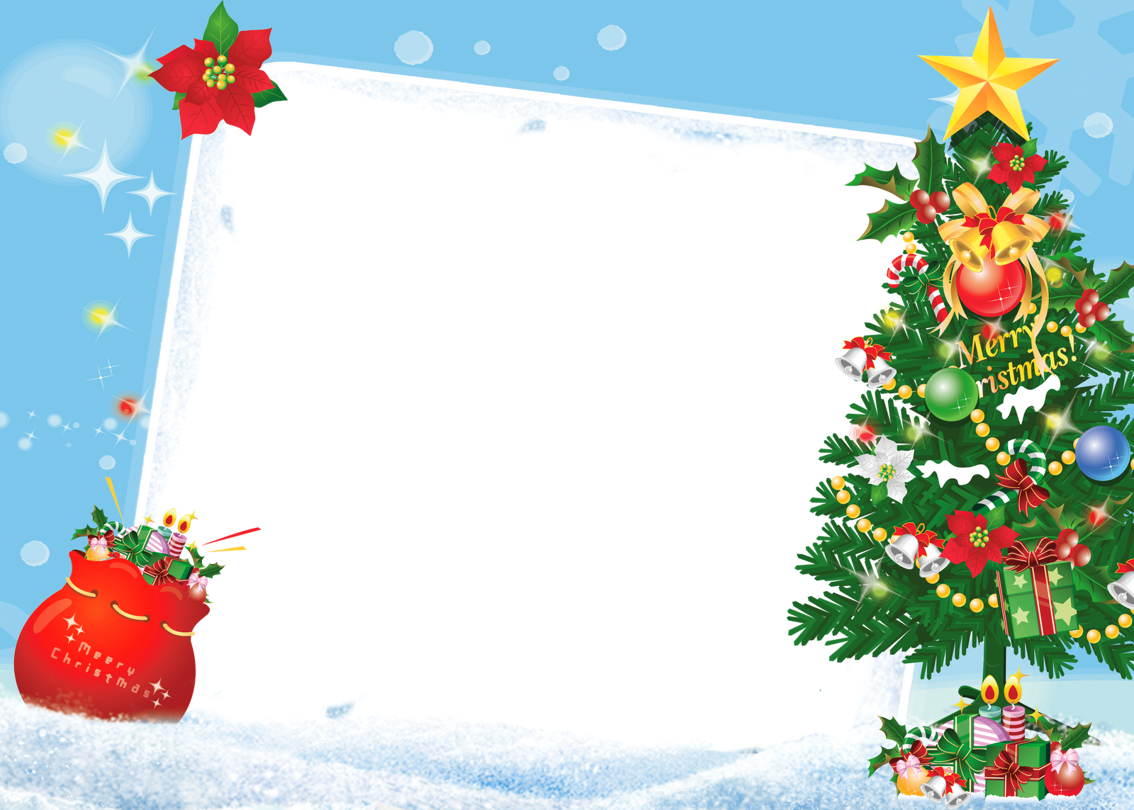 Merry Christmas PNG Frame with Christmas Tree.