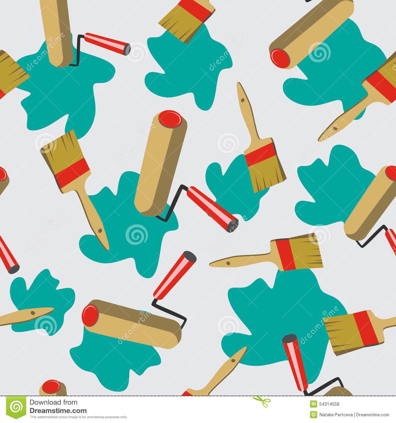 Seamless Pattern Background With Painter Tools In Vector. Stock.